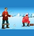 men ice fishing vector image