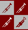 musical instrument trumpet sign bordo and vector image vector image