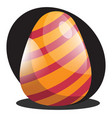 orange easter egg with red lines web on a white vector image vector image