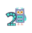 Owl Standing Next To Number Two Stylized Funky vector image vector image