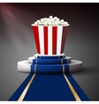 Popcorn on the podium Movie premiere vector image vector image