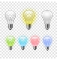 Rainbow transparent light bulbs set background vector image vector image