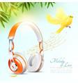 realistic headphones poster vector image vector image