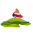 red car with baggage in scenic nature landscape vector image vector image
