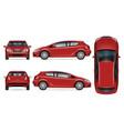 red hatchback mockup vector image
