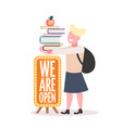 schoolgirl with backpack holding books stack we vector image