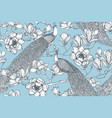 seamless pattern magnolia flowers vector image vector image
