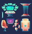 set alien spaceship design elements vector image vector image