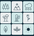 set of 9 nature icons includes rain love flower vector image vector image