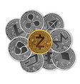 set of gold and silver crypto currencies vector image
