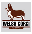 sign template with welsh corgi standing in profile vector image vector image