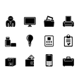Silhouette Business and office equipment icons vector image vector image