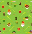 sinterklaas green pattern - dutch holidays vector image