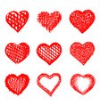 sketch of hand drawn hearts set vector image vector image
