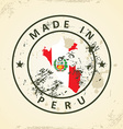 Stamp with map flag of Peru vector image vector image