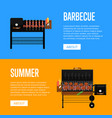 summer barbecue party flyers with meats on grill vector image vector image