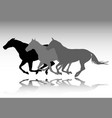three horses galloping silhouettes vector image