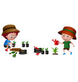 two boys planting tree vector image vector image