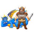 Viking and dragon vector image vector image