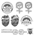 Vintage pizzeria labels badges design elements vector image vector image