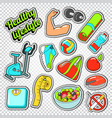 woman healthy life doodle with sport elements vector image vector image
