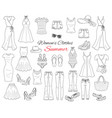 Women clothes collection sketch vector image