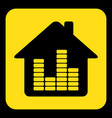 yellow black sign - house with equalizer icon vector image vector image