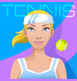 young woman tennis player avatar sport active vector image vector image