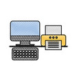 computer and printer office business device vector image