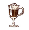 a cup coffee latte in vintage style hand drawn vector image vector image
