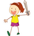 a doodle kid holding sword cartoon character vector image