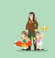 a pilot with his children playing airplane toy vector image vector image