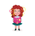 adorable beautiful little girl standing and vector image