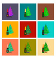 assembly flat christmas tree champagne vector image vector image