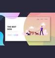 breeder walking with dogs team website landing vector image vector image