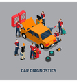 Car Diagnostic Auto Center Isometric Composition vector image vector image