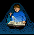 child reads book at night pop art vector image