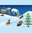 children sledding in snow downhill vector image vector image