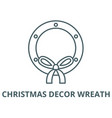 christmas decor wreath line icon vector image