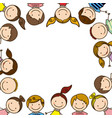 colorful border with half body group cartoon vector image vector image