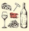 creative sketch graphic wine elements vector image