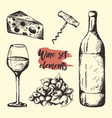 creative sketch of graphic wine elements vector image vector image