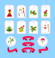 cute cartoon christmas sticker and ribbon vector image vector image