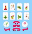cute cartoon christmas sticker and ribbon vector image