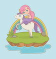 fairytale landscape scene with princess in unicorn vector image