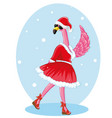 flamingo with santa hat and black glassless merry vector image vector image