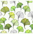 floral seamless pattern with ginkgo leaves vector image