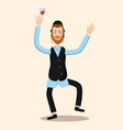 funny cartoon jewish man dancing with vine vector image