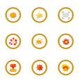 game explosion icons set cartoon style vector image vector image