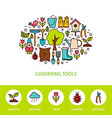 Gardening Tools Flat Outline Design Template with vector image vector image
